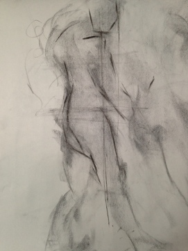 Figure drawing example by excellent instructor Robert LaBranche emphasizing measuring and angles