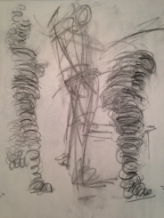 "Vine charcoal, ""slinky"" drawing technique"