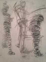 """Vine charcoal, """"slinky"""" drawing technique"""